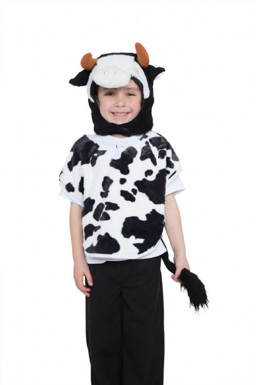 Childs Unisex Cow Tabard Hood & Tail Costume Book Day Animal Fancy Dress Outfit